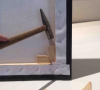 Leinwand straffen mit Holzkeilen 1